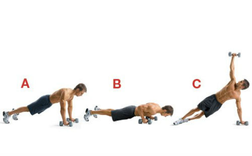 Dumbbell T Pushups